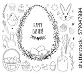 easter vector doodles set with... | Shutterstock .eps vector #579047884