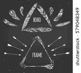 set of triangle boho frames on... | Shutterstock .eps vector #579048349