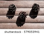 three white painted pine cones... | Shutterstock . vector #579053941