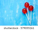 three ball red lollipops on... | Shutterstock . vector #579055261