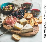 wine and snack set. variety of... | Shutterstock . vector #579067891