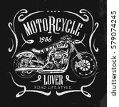Vintage Motorcycle Hand Drawn...
