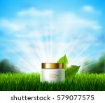 white bottle of cream on the... | Shutterstock .eps vector #579077575