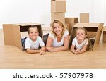 woman with kids playing in... | Shutterstock . vector #57907978