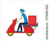 delivery courier person rides a ...   Shutterstock .eps vector #579081565