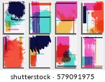 cards template. hand painted... | Shutterstock .eps vector #579091975