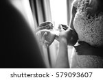 elegant bride in the hotel at... | Shutterstock . vector #579093607