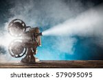 old style movie projector ... | Shutterstock . vector #579095095