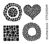 set of mosaic objects on white... | Shutterstock .eps vector #579105049