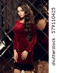 calm sensual girl with long... | Shutterstock . vector #579110425