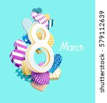 greeting card for march 8.... | Shutterstock .eps vector #579112639