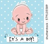 greeting card it is a boy with... | Shutterstock .eps vector #579135589