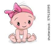 cute cartoon baby girl isolated ... | Shutterstock .eps vector #579135595