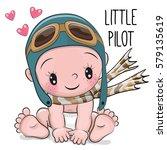 cute cartoon baby boy in a...   Shutterstock .eps vector #579135619