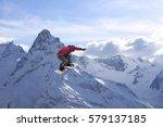 snowboard rider jumping on...   Shutterstock . vector #579137185