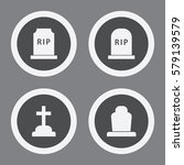 grave icons in grey circles....   Shutterstock .eps vector #579139579