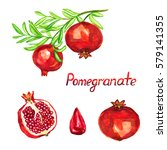 pomegranate branch with fruits  ... | Shutterstock . vector #579141355