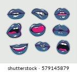 vector stickers kit of female... | Shutterstock .eps vector #579145879