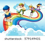 children skateboarding on... | Shutterstock .eps vector #579149431