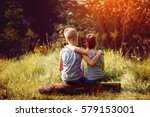 two little boys friends hug... | Shutterstock . vector #579153001