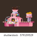 pink chocolate factory... | Shutterstock .eps vector #579159529
