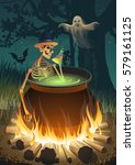 halloween party with a bonfire  ... | Shutterstock .eps vector #579161125