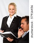 A businessman and his secretary - stock photo