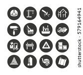 construction icons set in... | Shutterstock .eps vector #579164941