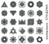 gray geometric shapes icons... | Shutterstock .eps vector #579182905