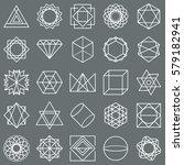 white stroke geometric shapes... | Shutterstock .eps vector #579182941