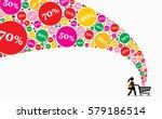 girl pushing shopping cart on a ... | Shutterstock .eps vector #579186514