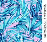 watercolor tropical leaves... | Shutterstock . vector #579192505