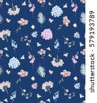 gentle watercolor floral... | Shutterstock . vector #579193789