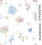 Stock photo gentle watercolor floral pattern hydrangea flowers feather white background 579193795