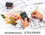 businessman working on accounts ... | Shutterstock . vector #579195499