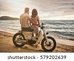 romantic couple sitting on...   Shutterstock . vector #579202639
