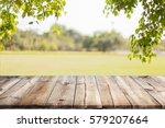 empty wooden table with garden... | Shutterstock . vector #579207664