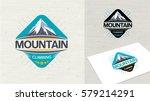 logo  mountain climbing vector... | Shutterstock .eps vector #579214291