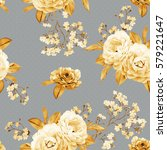 floral seamless pattern made of ... | Shutterstock . vector #579221647