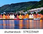 famous bryggen wharf in bergen...   Shutterstock . vector #579225469