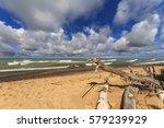 sandy beach on lake superior in ... | Shutterstock . vector #579239929