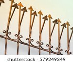 Rusty Metal Fence With Sharp...