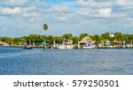 Small photo of Everglades City, FL USA - January 26, 2017: The small coastal town in the Everglades is a popular tourist destination with airboat rides along the Barron River.