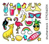 fashion summer patches with... | Shutterstock .eps vector #579256054