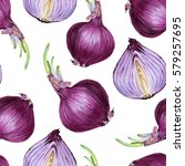 purple onion. watercolor... | Shutterstock . vector #579257695