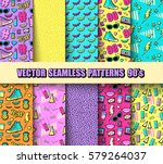 vector seamless backgrounds 80s ... | Shutterstock .eps vector #579264037