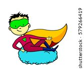 young masked superhero cartoon... | Shutterstock .eps vector #579266419