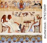 murals ancient egypt.scene.... | Shutterstock .eps vector #579273049