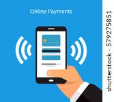 online payment with a mobile... | Shutterstock .eps vector #579275851