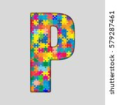 vector puzzle jigsaw letter   p.... | Shutterstock .eps vector #579287461